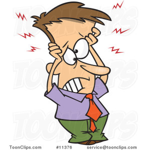 cartoon-frazzled-business-man-holding-his-head-by-ron-leishman-11376